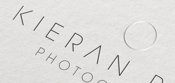 Kieran Paul Photography Logo Branding Business Card Closeup