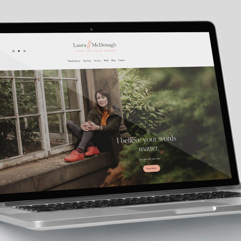 Laura McDonagh Branding Website on Laptop