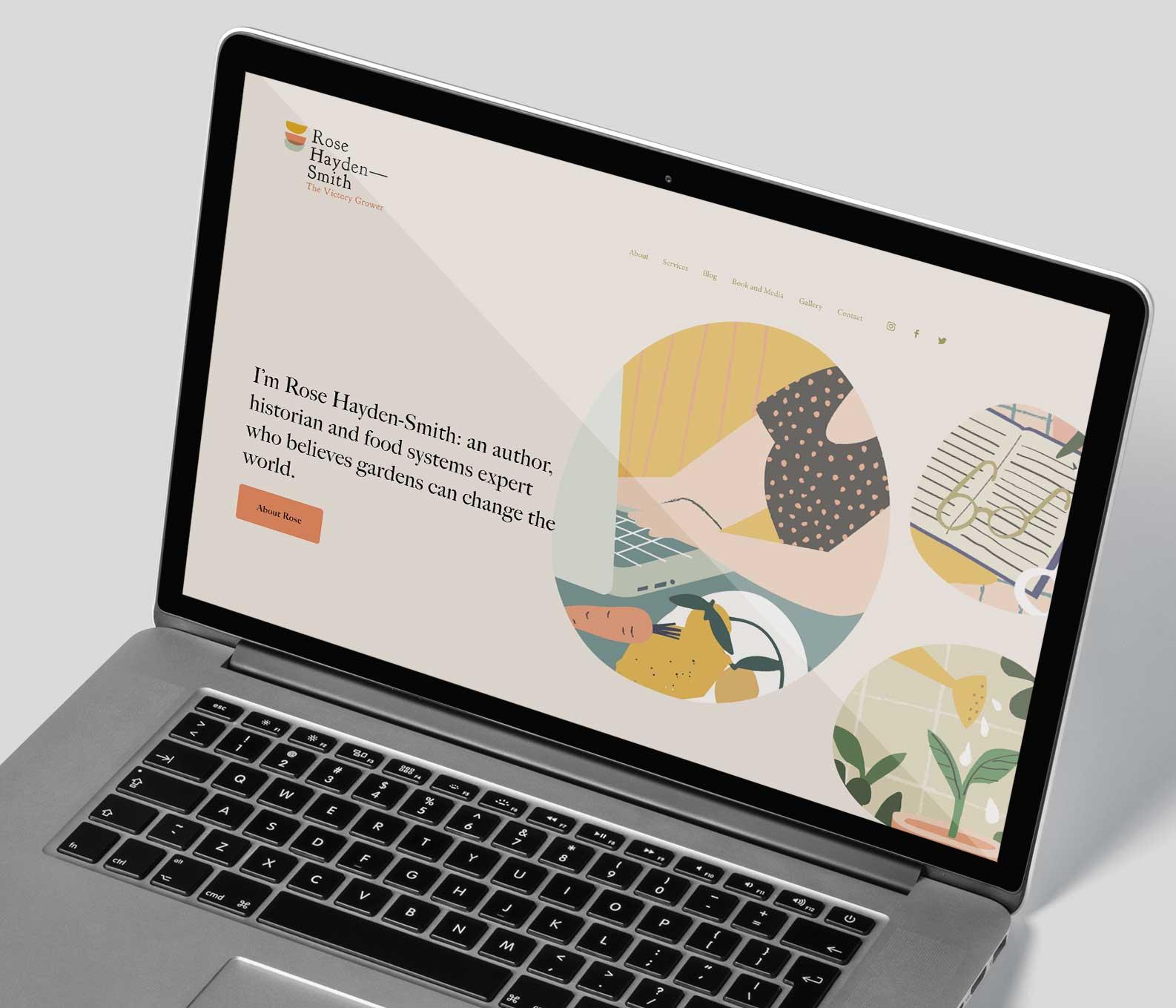 Rose Hayden-Smith Branding Website on Laptop
