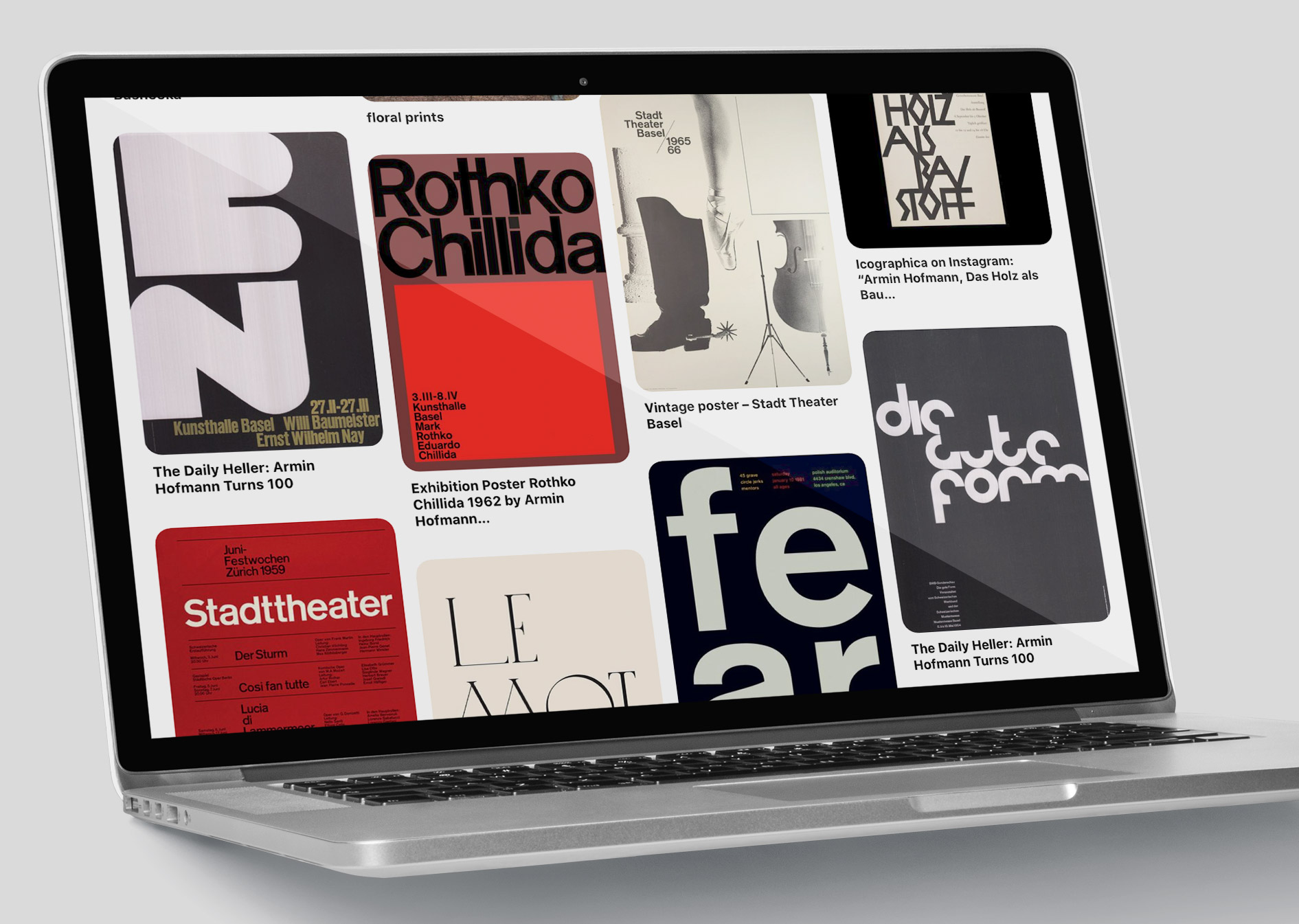 Pinterest Inspiration Typography Board On Laptop